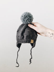 Knit Bobble Hat // Charcoal // Newborn // RTS