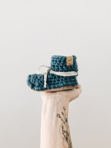 'Ocean' Wool Leather Booties