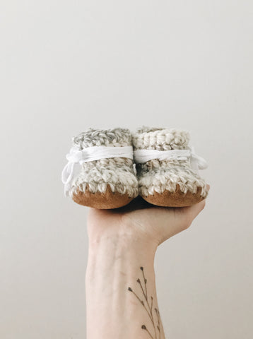 'Fossil' Leather Slippers // Baby