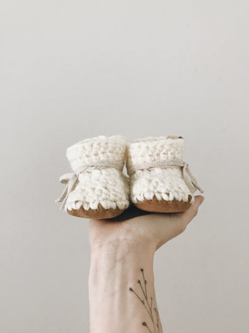 'Ecru White' Leather Slippers // Toddler