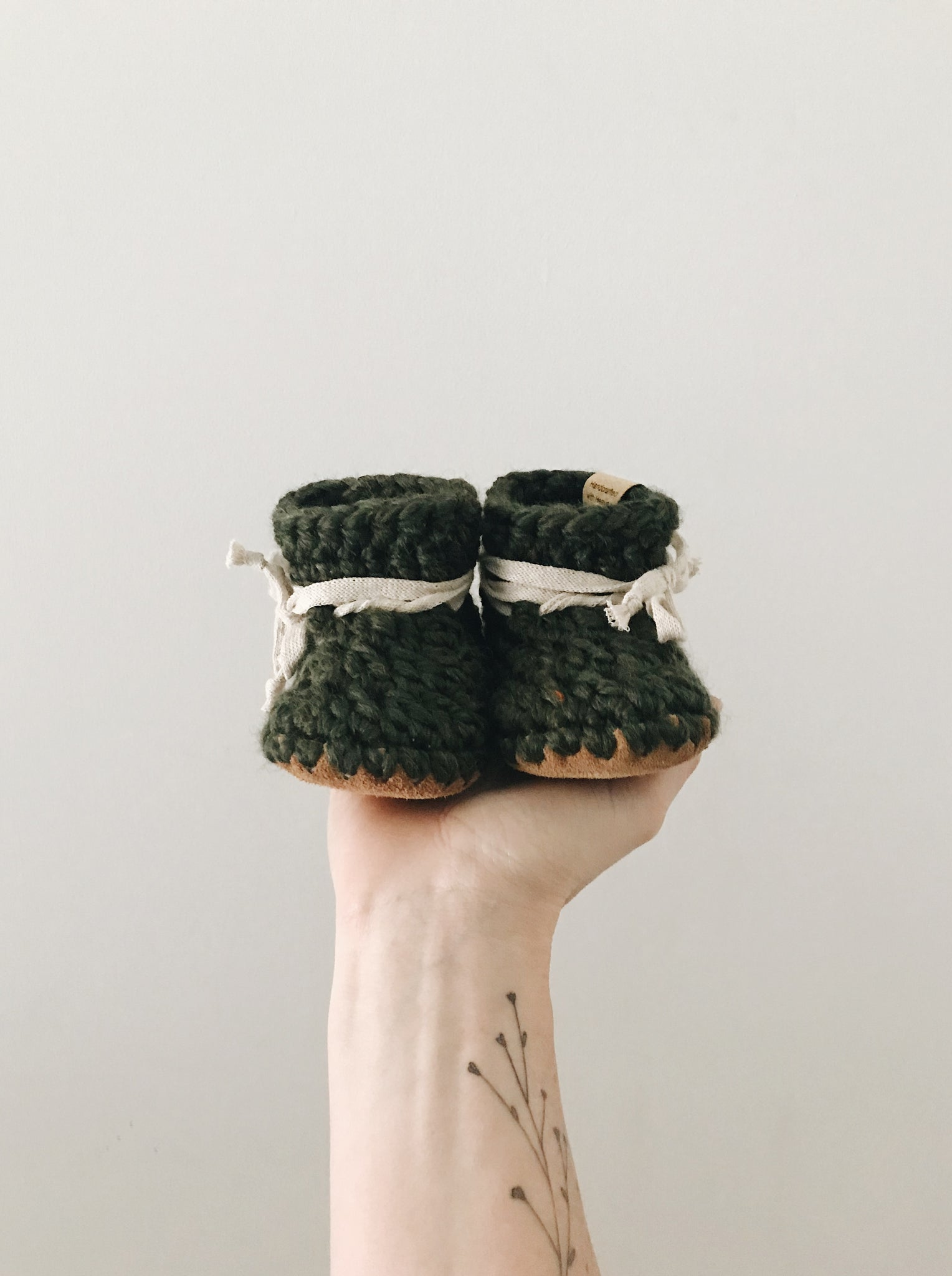 Moss Green Leather Booties