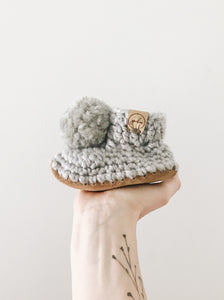 Silver Snow Booties // Silver Fluff Poms
