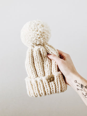 Chunky Knit Hat // Ecru // All Sizes