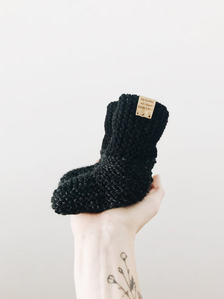 Knit Cuffed Booties // Sable // Baby