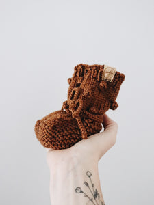 Knit Bobble Booties // Copper // Baby // Made to Order