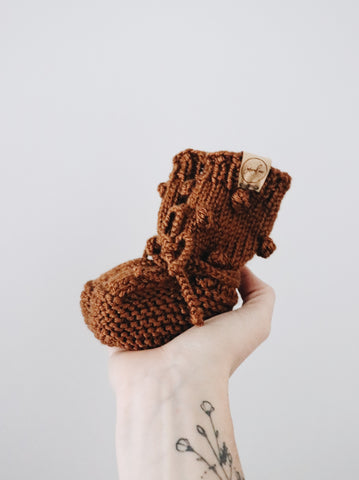 Knit Bobble Booties - Copper // Baby