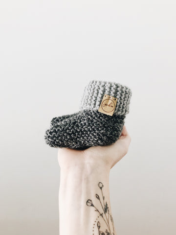 Knit Cuffed Booties // Steel // Baby