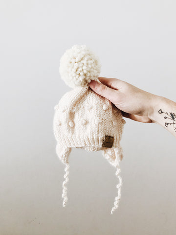 Knit Bobble Hat // Cream // 6-12m // RTS