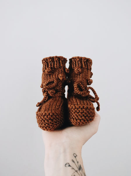 Knit Bobble Booties // Copper // 6-12m // RTS