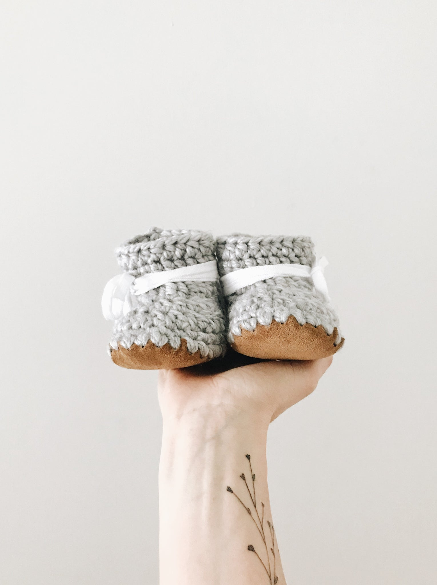 Silver Snow Leather Booties