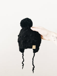 Knit Bobble Hat // Black // Baby + Toddler