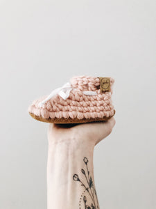 SS20 'Dusty Rose' Leather Slippers // Toddler