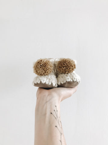 Ecru White Booties - Pompoms