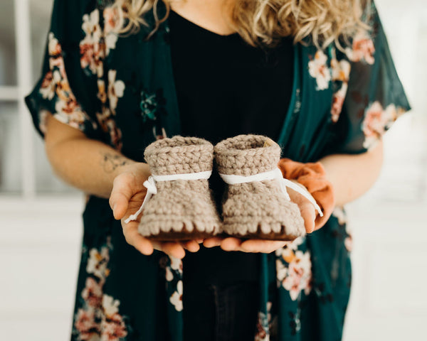 DIY Crochet Kit - Leather Slippers - Infant