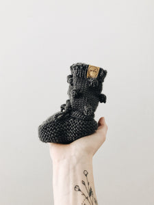 Knit Bobble Booties // Charcoal Grey // 0-6m // RTS