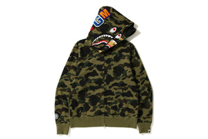 A BATHING APE Type MENS 1ST CAMO SHARK WIDE FIT FULL ZIP DOUBLE HOODIE - BAPEPLUGTO