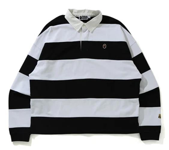 BAPE Men's STRIPE HEAVY WEIGHT LOOSE FIT RUGGBY SHIRT.    20/MAR - BAPEPLUGTO
