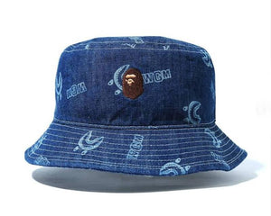 BAPE Ladies' SHARK PATTERN DENIM BUCKET HAT.   27/MAR - BAPEPLUGTO