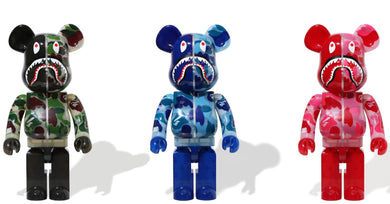 BAPE X MEDICOM TOY CLEAR ABC CAMO SHARK BE@RBRICK 1000% SET - BAPEPLUGTO