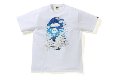 BAPE SAKURA PHOTO APE HEAD TEE WHITE - BAPEPLUGTO