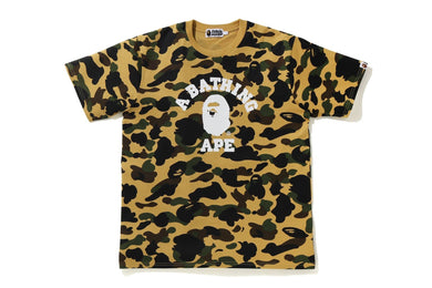 BAPE 1ST CAMO COLLEGE WIDE FIT TEE YELLOW - BAPEPLUGTO