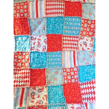 Aqua And Red Lap Rag Quilt Paisley Flowers