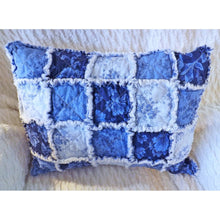 Blue And White Rag Quilt Travel Pillow Sham With Pillow Insert