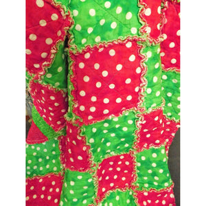 Christmas Rag Lap Quilt Red And Green Polka Dots