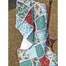 Christmas Santa Rag Quilt Lap Size Throw