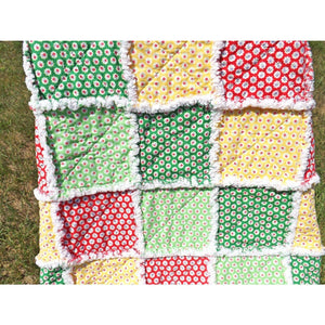Flower Sugar Colorful Rag Lap Quilt