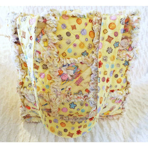 Kitty Cat Rag Quilt Tote With Fun Cat Prints