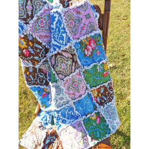 Lap Rag Quilt Modern Floral Prints In Blue Brown Yellow Green And Pink