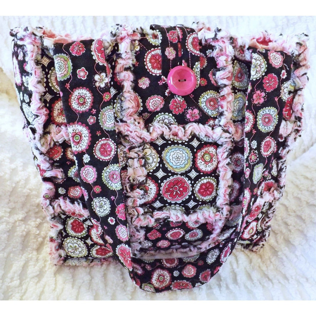 Pink And Black Floral Rag Quilt Tote Gift For Her