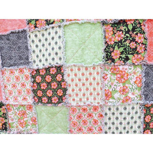 Pink And Green Twin Rag Quilt Made With Pretty Floral Fabrics