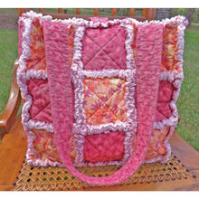 Rag Quilt Tote With Mauve Magenta And Orange Floral