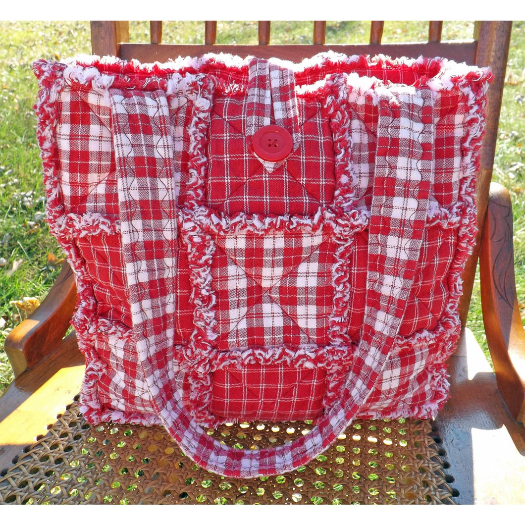 Red And White Homespun Plaid Rag Quilt Tote