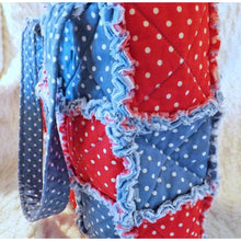 Red White And Blue Polka Dot Rag Quilt Tote Gift For Her