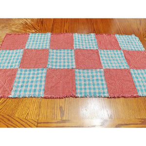 Rustic Homespun Rag Quilt Table Runner Aqua And Red