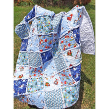 Snowman Rag Lap Quilt Blue And White Christmas Decor