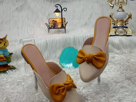 PF Fashion Jute Mule With Yellow Bow