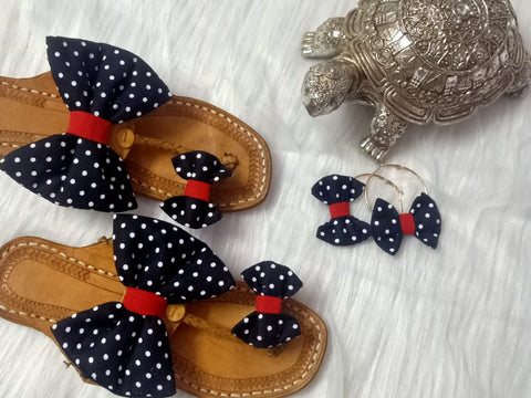 PF Fashion Kolhapuri With Polka Dot Bow - Ambitionmart