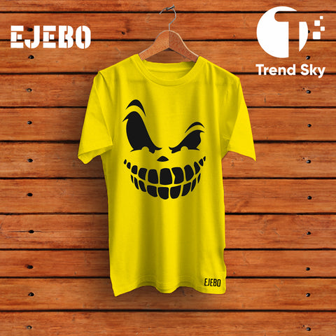 Ejebo Round Neck Evil Smile T-Shirt For Mens - Ambitionmart
