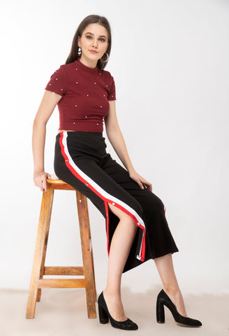 KA Styles Relaxed women multicolor cotton blend trouser - Ambitionmart