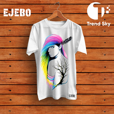 Ejebo Round Neck Nature & Beauty T-Shirt For Girls - Ambitionmart