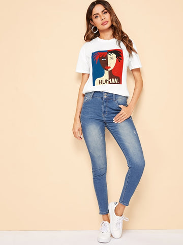 Figure Printed Women's Round Neck T-Shirt - Ambitionmart