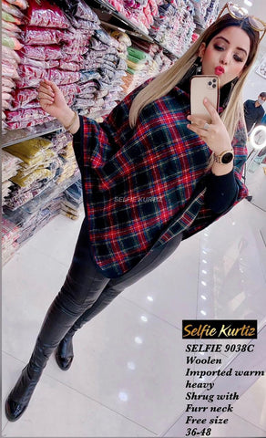 SELFIE RED CHECKERED WOOLEN SHRUG 9038C - Ambitionmart