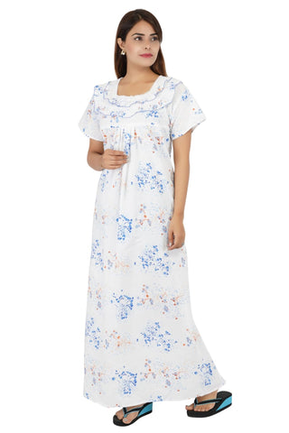 Himanshu Handloom Floral Print Cotton Nighty (Multi Color) - Ambitionmart