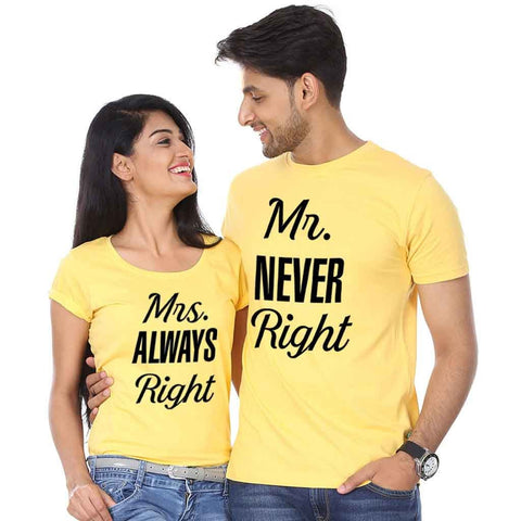 Ejebo Printed Couple Round Neck T-Shirt Combo - Ambitionmart