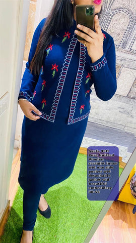 Aarfa Pure Woollen Kurti With Detachable Jacket 3311 - Ambitionmart