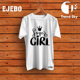 Ejebo Round Neck Super Girl T-Shirt - Ambitionmart